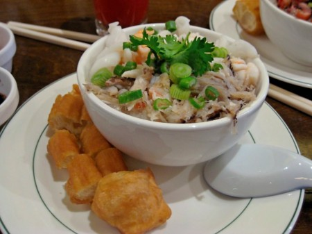 Congee topped with seafood
