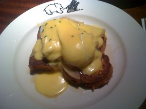 Eggs 'n Apples Benedict on French Toast with Maple Syrup at Elephant & Castle
