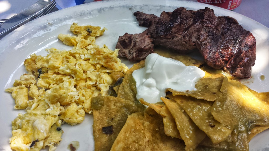 Chilaquiles with steak at Creek and the Cave