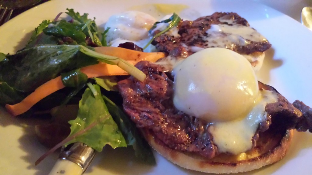Steak and eggs benedict
